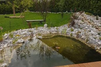 Teich mit Bachlauf